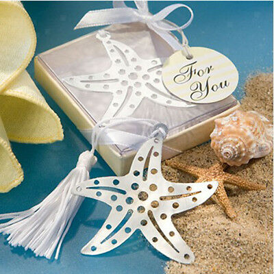 Steel Hollow Starfish Bookmark with Tassels Wedding Party Favors Bridal Shower