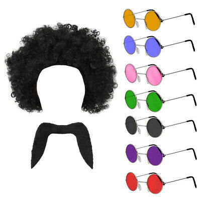 70's Man Set Black Afro Wig Moustache Glasses Disco Fancy Dress Dancer 1970's