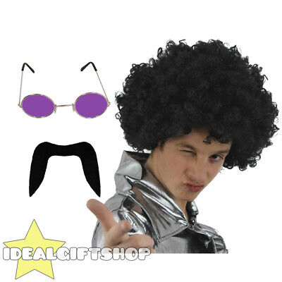70's Man Set Black Afro Wig Moustache Purple Glasses Disco Fancy Dress 1970's