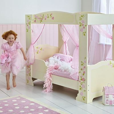 Girls Rose 4 Poster Toddler Junior Bed Age 18 Months + Furniture Pink Free P+P