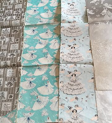 Vintage Wedding Bridal Shower Wrapping Paper Sheets Lot Silver Blue