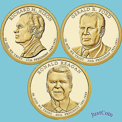 2016-D Nixon Ford Reagan Presidential Golden Dollars 3 Coins Set Uncirculated