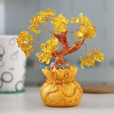 Money Wealth Bag Feng Shui Lucky Tree Size S Yellow Citrine Crystal