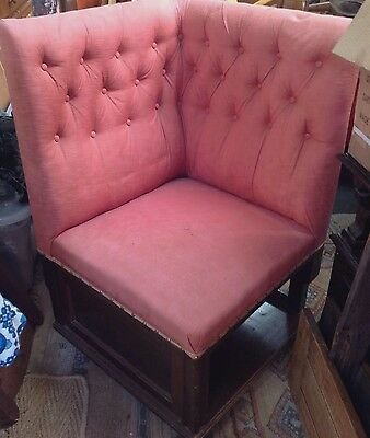 Early Vintage Corner Seat. Chair . Settee Pub. Mahogany Frame. Pink Button Back