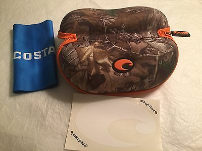 BRAND NEW COSTA DEL MAR SUNGLASS REALTREE CAMO ZIPPER CASE With Cloth/Decal NEW!