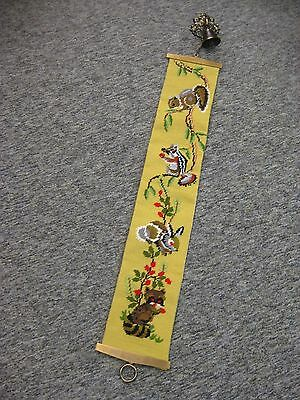 Vtg Antique Needle point animals,  Brass Bell Pull Sash Tapestry Bellpull