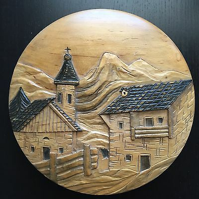 Fine Vintage Italian Artist Signed Carved Round Folk Art Wall 3D Town City NR