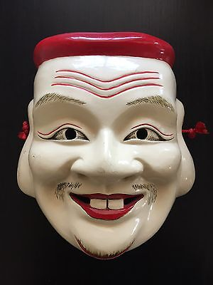 Fine Old SIGNED Japanese Carved Noh Theatre Theater Mask Art Figure Design WOW