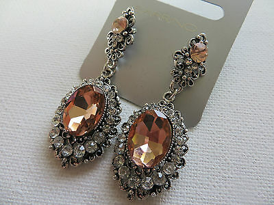 GOTHIC VINTAGE VICTORIAN STYLE SILVER,,PINK,PEACH,GREY/BLACK DROP EARRINGS  new