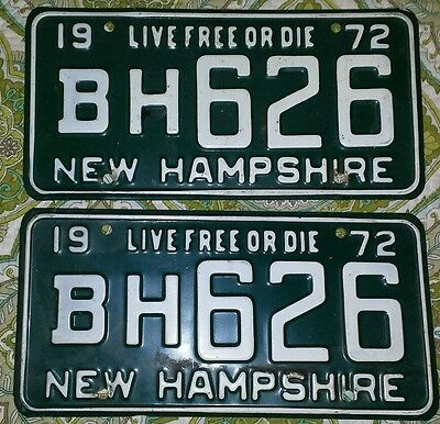 1972 72 NEW HAMPSHIRE NH LICENSE PLATE SET BH626 Pair 70s Live Free or Die Green