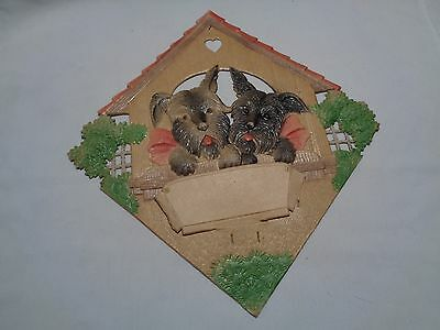 Vintage German die cut calendar topper cardboard-2 Black scotties scottys dogs