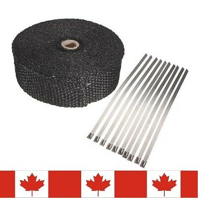 "Exhaust Header Fiberglass Heat Wrap Car or Motorcycle 2"" by 5m With Ties Kit"