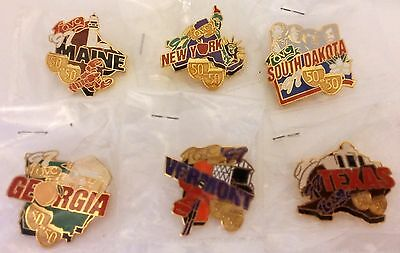 6 Assorted 1997 The Quest For America's Best Qvc's 50 In 50 Tour State Pins