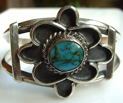 Navajo Silver Turquoise Bracelet Chunky Wire Rosette