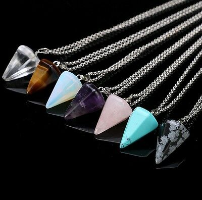 Natural Gemstone Crystal Healing Chakra Reiki Stone Pendant Bead Silver Necklace