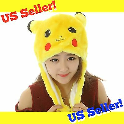 Cute Pikachu Pokemon Go Winter Hat Cap Anime Cosplay Ears Soft Plush Beanie