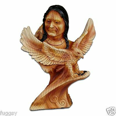 The Cherokee River Collection Native American & Eagle Timber Look Resin Figurine