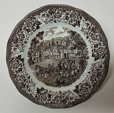 """Q00126: 7"""" Brown Royal Staffordshire Plate, by J.& G. Meakin, England"""