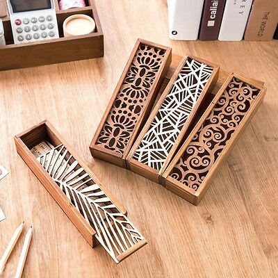 2016 New Cute wooden pencil box multifunction stationery hollow lace
