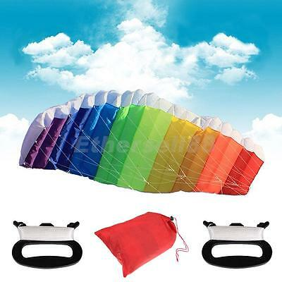 Portable Rainbow Dual Line Parafoil Parachute Kite with Winding Boards Line