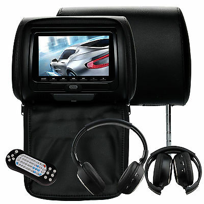 "2x 7""LCD Monitor Car Seat Pillow Cover Headrest CD DVD Player Game+IR Headphones"