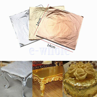 100PCS 14x14cm Gold/Silver/Copper Leaf Sheets Leaves Sheets Gilding Art Craft HM