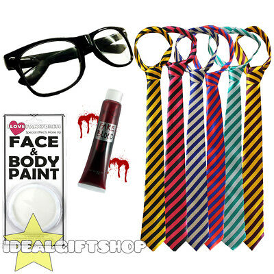 Zombie School Boy Horror Halloween Fancy Dress Set Tie Glasses Blood Face Paint
