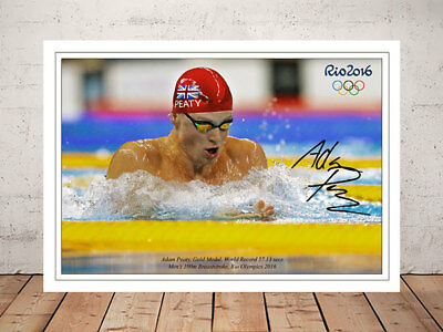 Adam Peaty Breaststroke Gold Medal Rio Olympics Autographed Signed Photo Print