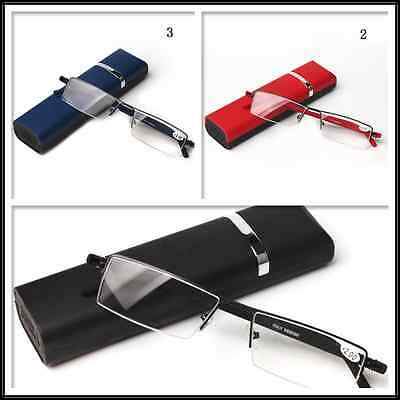 NEW Mens Women Reading Glasses Black Reading Stone Black Red Blue Enlargers &Box