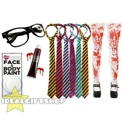Zombie School Girl Halloween Fancy Dress Set Tie Glasses Blood Face Paint Tights