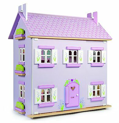 Le Toy Van Lavender Dolls House with Daisy Lane Furniture and Dolls