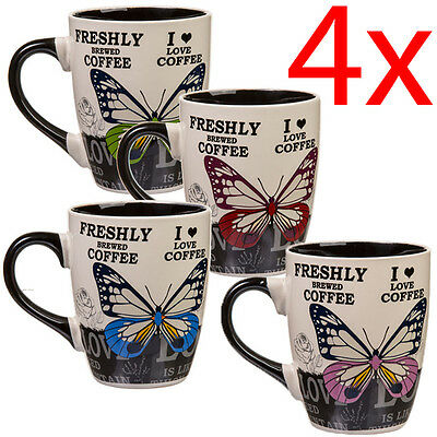 Set Of 4 Coffee Tea Stoneware Butterfly Mugs Cup Drinking Gift Set Kitchen New
