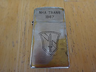 "Vietnam War Year 1967 Zippo Slim Lighter ""NHA TRANG 1967"" US Army Field Force 1"