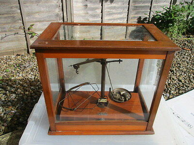 Vintage Wooden Laboratory Display Case Scales Apothecary Antique Brass Weights