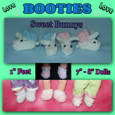 """BOOTIES fits 1"""" feet for about 7"""" - 8"""" Baby Doll Handmade the Crafty Grandmas"""