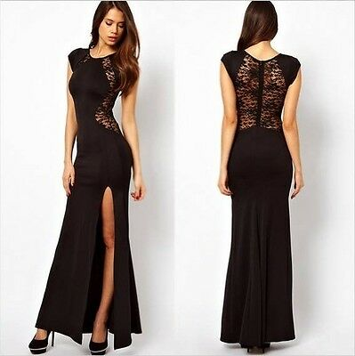 Womens Evening Long Slit Dress Bodycon Evening Cocktail Party Vintage BlacK UK
