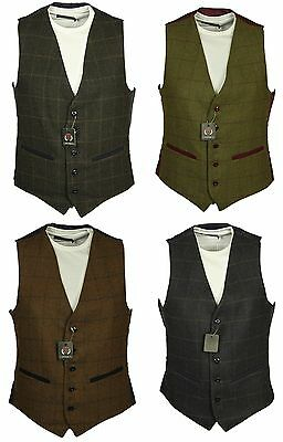 Mens Brand New Casual Formal Wool Waistcoat Carabou In Navy Charcoal Olive Brown