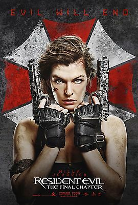 """Resident Evil The Final Chapter 2017 Movie New Milla Jovovich Film Poster 27x40"""""""