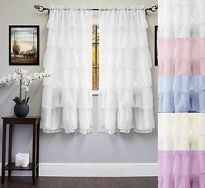 "Gypsy Crushed Voile Cascading Layers 60"" x 63"" Window Curtain Single Panel"