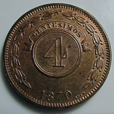"Paraguay 1870 4 Centesimos  "" Shaw "" Km # 4.1 Very Pretty Coin Well Struck"