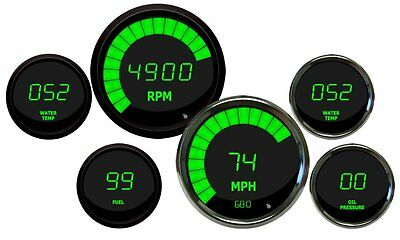 METRIC (KPH) DIGITAL GAUGE SET, Gauges in GREEN w/ extra sensors CHROME Bezels