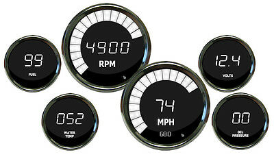 KPH INTELLITRONIX DIGITAL GAUGE SET with Black Bezels in WHITE LEDs Celsius Temp