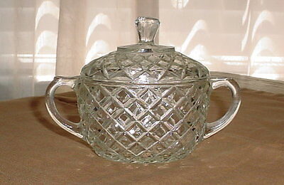 Anchor Hocking Waterford Waffle Clear Oval Sugar with Lid