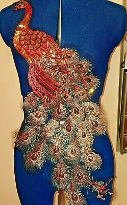 Colourful peacock sequin embroidered lace applique motif patch costume