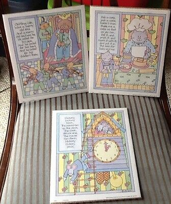 Lot of 3 Children's Nursery Rhyme Prints Pat A Cake Old King Cole Hickory NEW