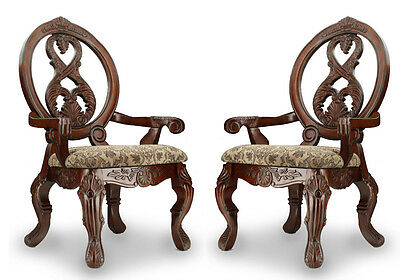 Tuscany Formal Set of 2 Dining Arm Chairs Carved Round Back Antique Cherry Wood
