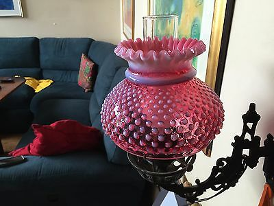 Fenton Cranberry Opalescent Hobnail Cast Iron Sconce Wall Lamp!!