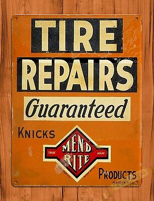 "TIN SIGN ""Tire Repairs"" Garage Rustic Mechanic  Wall Decor"