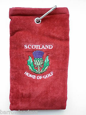 SCOTLAND Thistle - Home of Golf Towel (Red w/Crest) - Scottish Gift or Souvenir