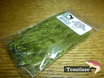 Hareline Dubbin Olive Marabou Blood Quills Strung - New Fly Tying Feathers